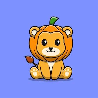 Śliczny lew z ilustracją kreskówki dyni