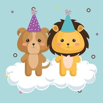 Śliczny lew z psią kawaii urodzinową kartą