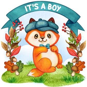 Śliczny lis akwarela, to chłopiec, ilustracja baby shower