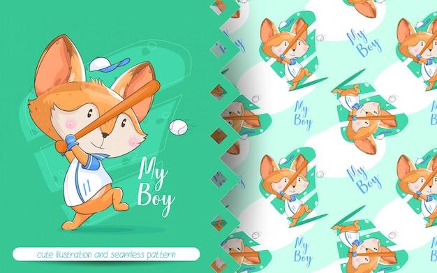 Śliczny lis bawić się baseball ilustrację i bezszwowego wzór