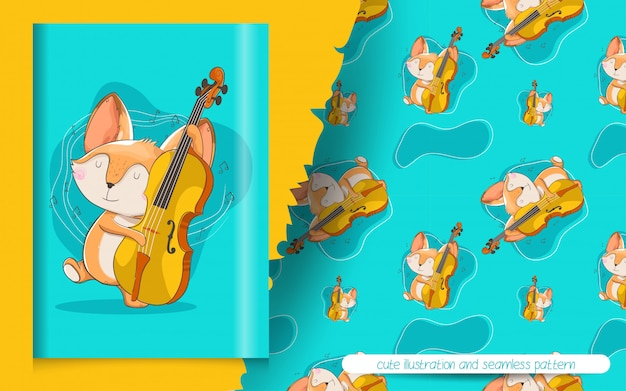 Śliczny lis bawić się muzyczną ilustrację i bezszwowego wzór