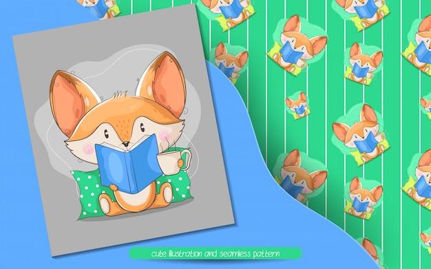 Śliczny lis czyta książkową ilustrację bezszwowego wzór i