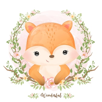 Śliczny lis dziecka w akwareli
