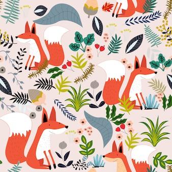 Śliczny lis i botaniczny urlopowy bezszwowy wzór
