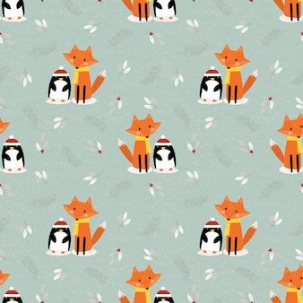 Śliczny lis i pingwin w boże narodzenie sezonu bezszwowym wzorze