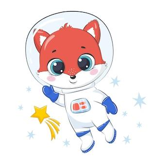 Śliczny lis kosmonauta z gwiazdami.
