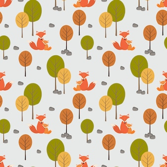 Śliczny lis (mama i jej dzieciak) w jesień lasowym bezszwowym wzorze.