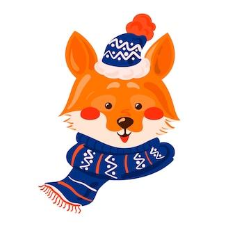 Śliczny lis nosi szalik na białym tle na boże narodzenie ilustracja śliczny wektor zwierzęcy charakter