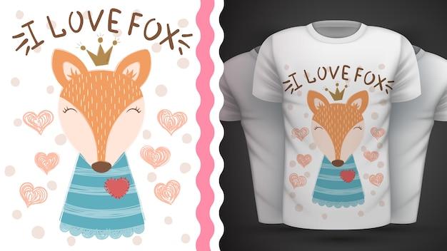 Śliczny lis - pomysł na t-shirt z nadrukiem.