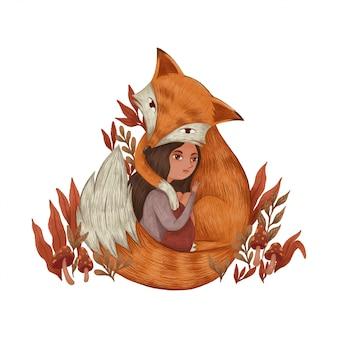 Śliczny lis przytula smutną dziewczynę