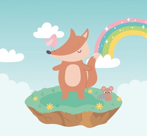 Śliczny lis, ptak i mysz, urocze zwierzęta z kwiatami i tęczową kreskówką