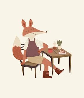 Śliczny lis sam na sam z ilustracją kawy