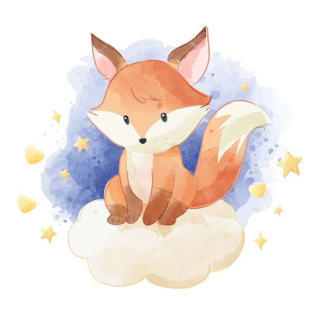 Śliczny lis siedzi na chmurze z gwiazdami
