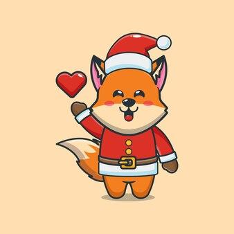 Śliczny lis ubrany w kostium świętego mikołaja w boże narodzenie śliczna świąteczna ilustracja kreskówka