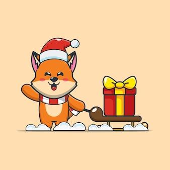 Śliczny lis w boże narodzenie niosący prezent śliczna świąteczna ilustracja kreskówka