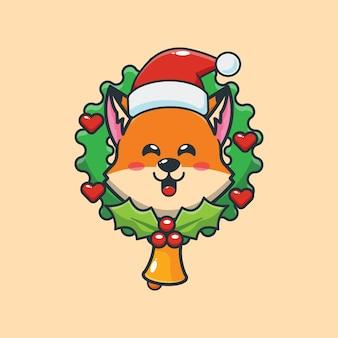 Śliczny lis w boże narodzenie śliczna świąteczna ilustracja kreskówka