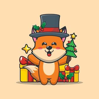 Śliczny lis w boże narodzenie trzyma choinkę i gwiazdę śliczna świąteczna ilustracja kreskówka