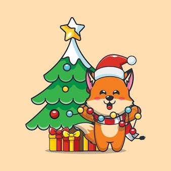 Śliczny lis w boże narodzenie trzyma lampkę świąteczną śliczna świąteczna ilustracja kreskówka