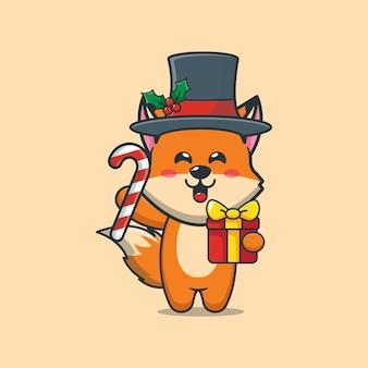 Śliczny lis w boże narodzenie trzymający prezent świąteczny i cukierki śliczna świąteczna ilustracja kreskówka