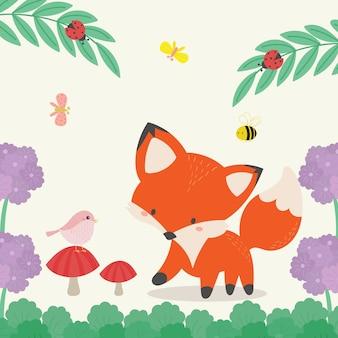 Śliczny lis w dzikiej ilustraci. ręcznie rysowane sztuki.