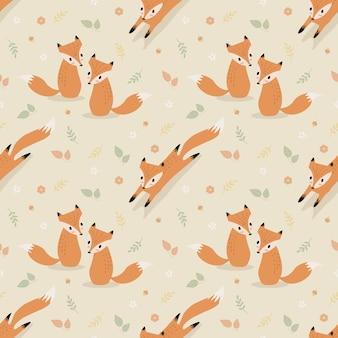 Śliczny lis w jesień bezszwowym deseniowym wektorze.