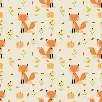 Śliczny lis w jesień bezszwowym wzorze v