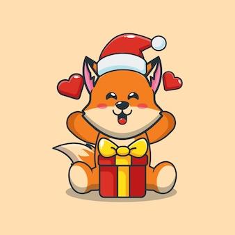 Śliczny lis w kapeluszu świętego mikołaja z pudełkiem prezentowym w boże narodzenie śliczna świąteczna ilustracja kreskówka