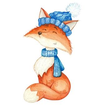 Śliczny lis w niebieskim szaliku i czapce. akwarela ilustracja