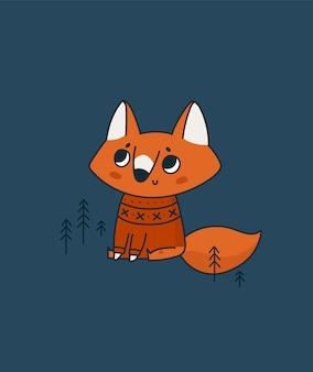 Śliczny lis w swetrze ze skandynawskim, północnym ornamentem. urocze dziecko zwierząt w lesie