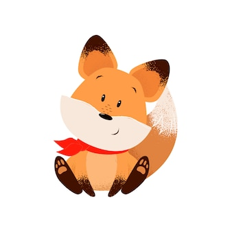 Śliczny lis w szaliku