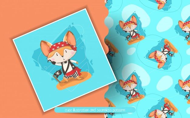 Śliczny lis z pirat zwyczajową ilustracją i bezszwowym wzorem