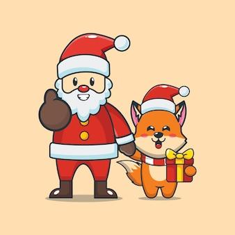 Śliczny lis ze świętym mikołajem w boże narodzenie śliczna świąteczna ilustracja kreskówka