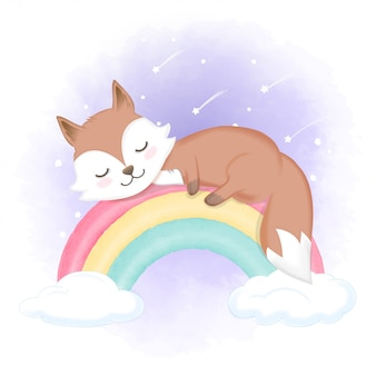 Śliczny lisa sen na tęczy, ręka rysująca zwierzęca akwareli ilustracja