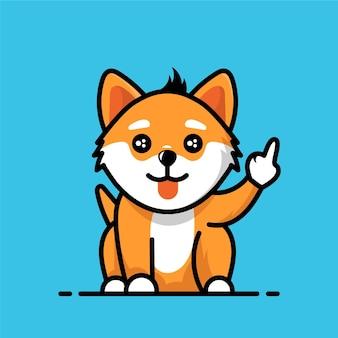 Śliczny lisek przedstawiający symbol fuck you
