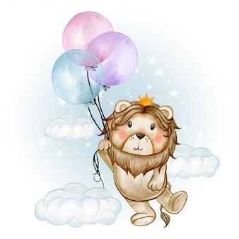 Śliczny lwa królewiątka latanie z balon akwareli ilustracją