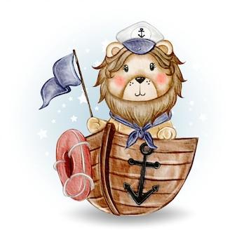 Śliczny lwa królewiątka żeglarz wsiadał na statek akwareli ilustraci