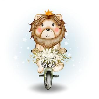 Śliczny lwa królewiątko jedzie rowerową akwareli ilustrację