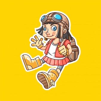 Śliczny mała dziewczynka badacz jest ubranym gogle