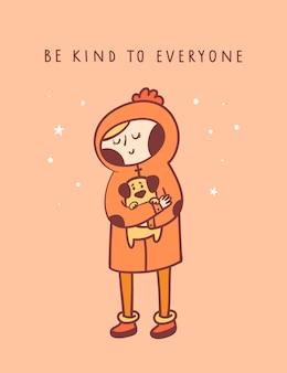 Śliczny małej dziewczynki mienia szczeniaka pies. bądź miły dla wszystkich