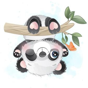 Śliczny małej pandy obwieszenie w drzewie