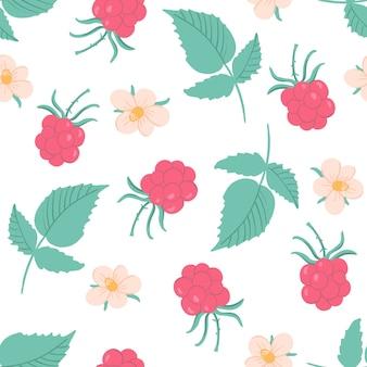 Śliczny malinowy wzór z kwiatami i liśćmi. ręcznie rysowane ilustracja z jagodami.
