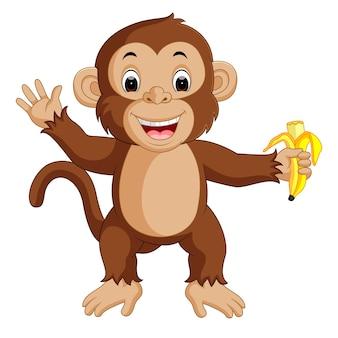 Śliczny małpi kreskówki łasowania banan