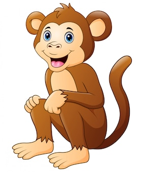 Śliczny małpi kreskówki obsiadanie i ono uśmiecha się