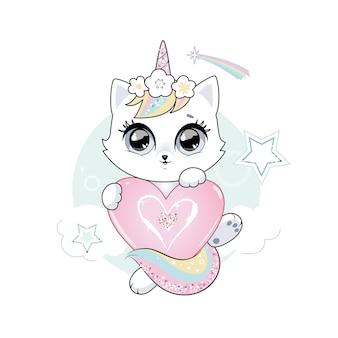 Śliczny mały biały kot jednorożec lub kotek pastelowe miękkie kolory