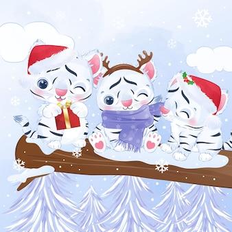 Śliczny mały biały tygrys na świąteczną i zimową ilustrację