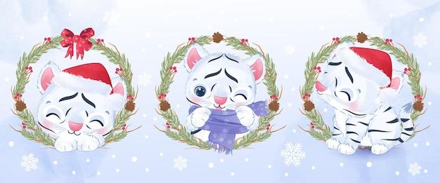 Śliczny mały biały tygrys na świąteczną ilustrację