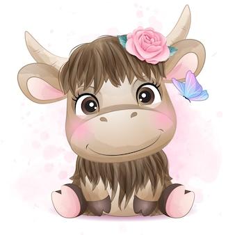 Śliczny mały bizon z akwareli ilustracją