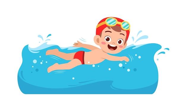 Śliczny mały chłopiec dziecko pływa pod wodą na letnie wakacje