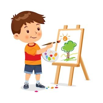 Śliczny mały chłopiec jest szczęśliwy, tworząc ilustracji wektorowych sztuki