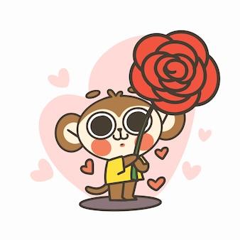Śliczny mały chłopiec małpa trzyma dużą różę doodle ilustracja